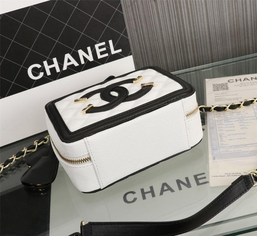Chanel Vanity Case Grained Calfskin With Gold-Tone Metal White