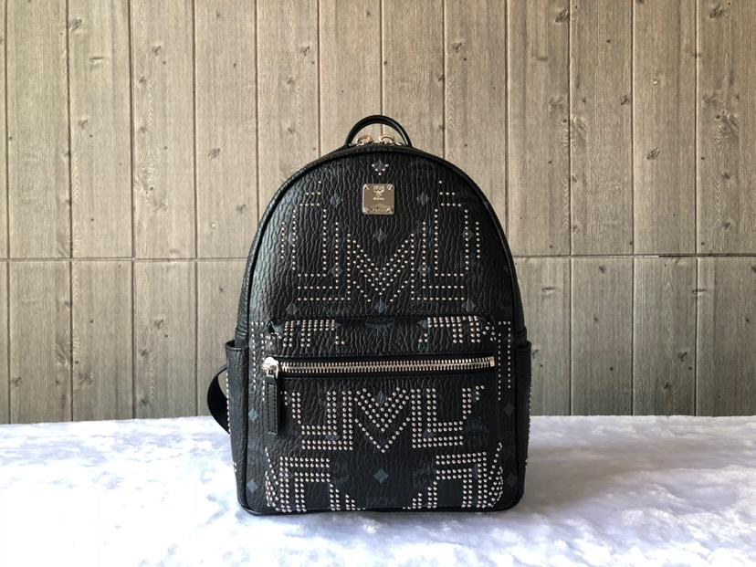 Cheap MCM Small Stark Women Backpack in Gunta M Studs Visetos Black