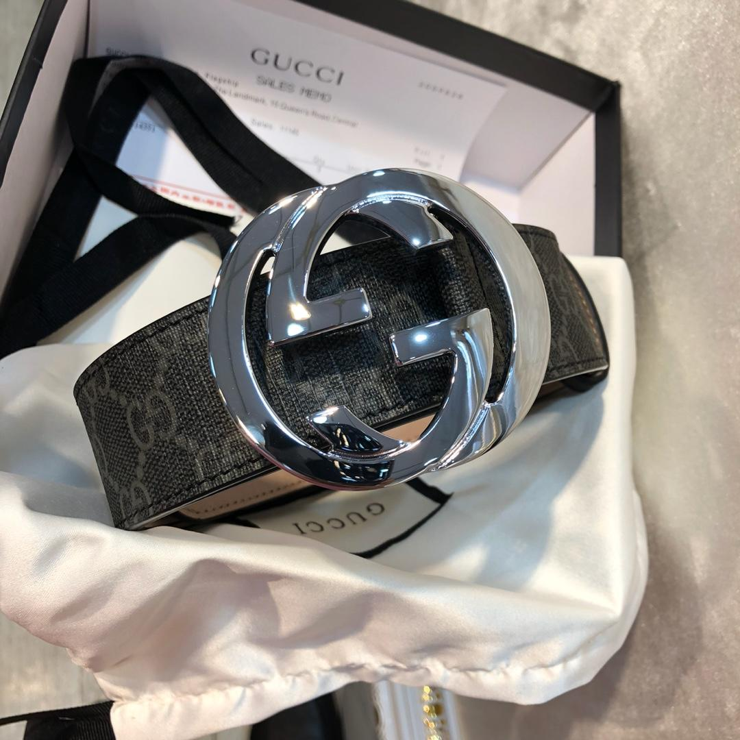 Cheap Replica Gucci Men Leather Belt Black GG Supreme Width 3.8cm With Bronze Silver Buckle 090