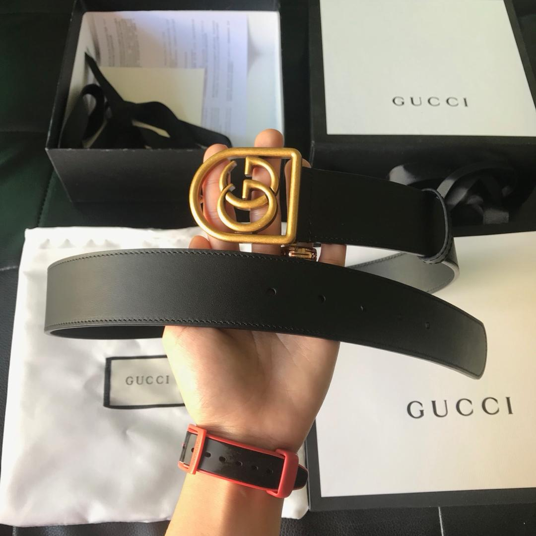 Cheap Replica Gucci Men Leather Belt Black Width 3.8cm With Bronze Gold Buckle 086