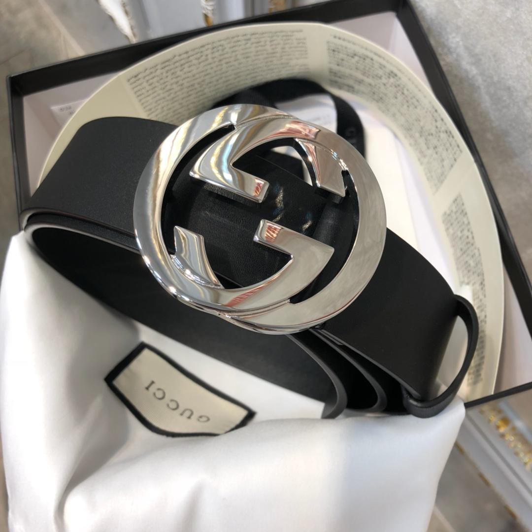Cheap Replica Gucci Men Leather Belt Black Width 3.8cm With Bronze Silver Buckle 091