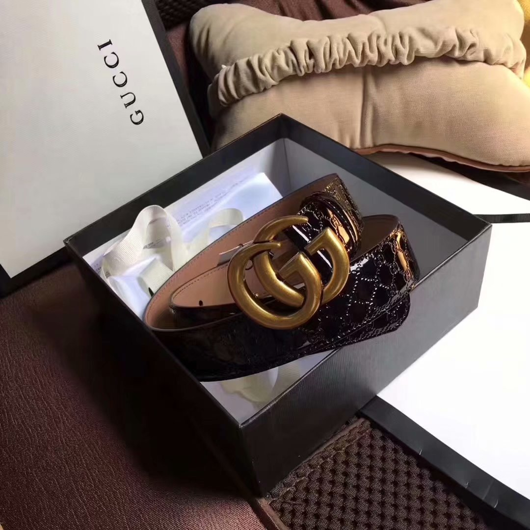 Cheap Replica Gucci Men Leather Belt Width 3.8cm With Gold Buckle 070