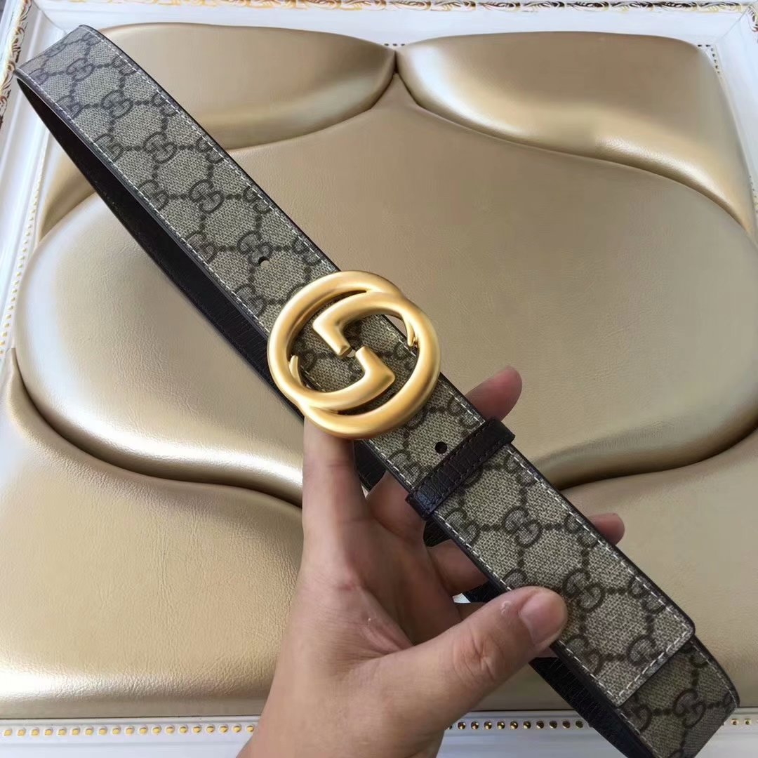 Cheap Replica Gucci Men Leather Belt Width 3.8cm With Gold Buckle 075