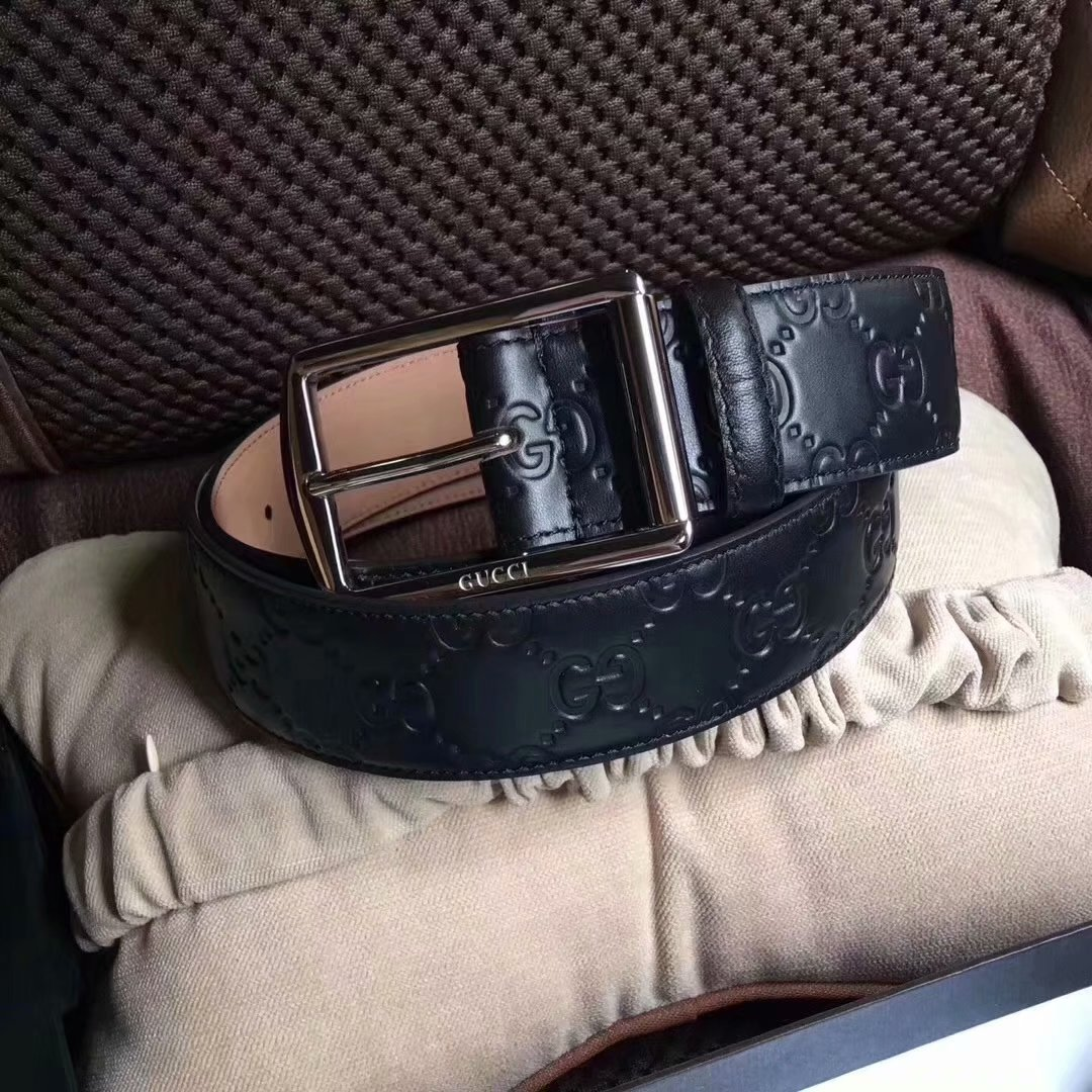 Cheap Replica Gucci Men Leather Belt Width 3.8cm With Silver Buckle 072