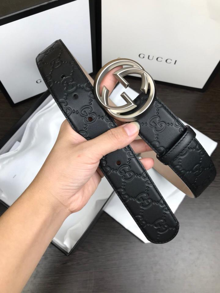 Cheap Replica Gucci Reversible Leather Men Belt Black Width 3.8cm With Silver Buckle 104
