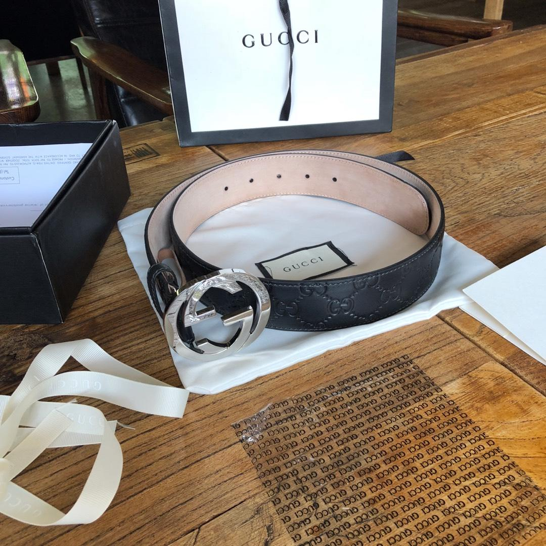 Cheap Replica Gucci Reversible Leather Men Belt Black Width 4cm With Silver Buckle 107
