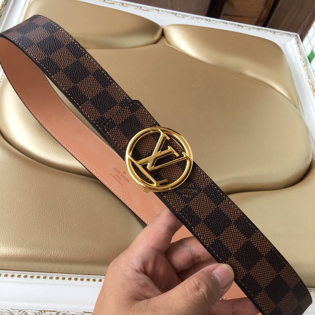Cheap Replica Louis Vuitton Men Leather Belt Width 4cm 085