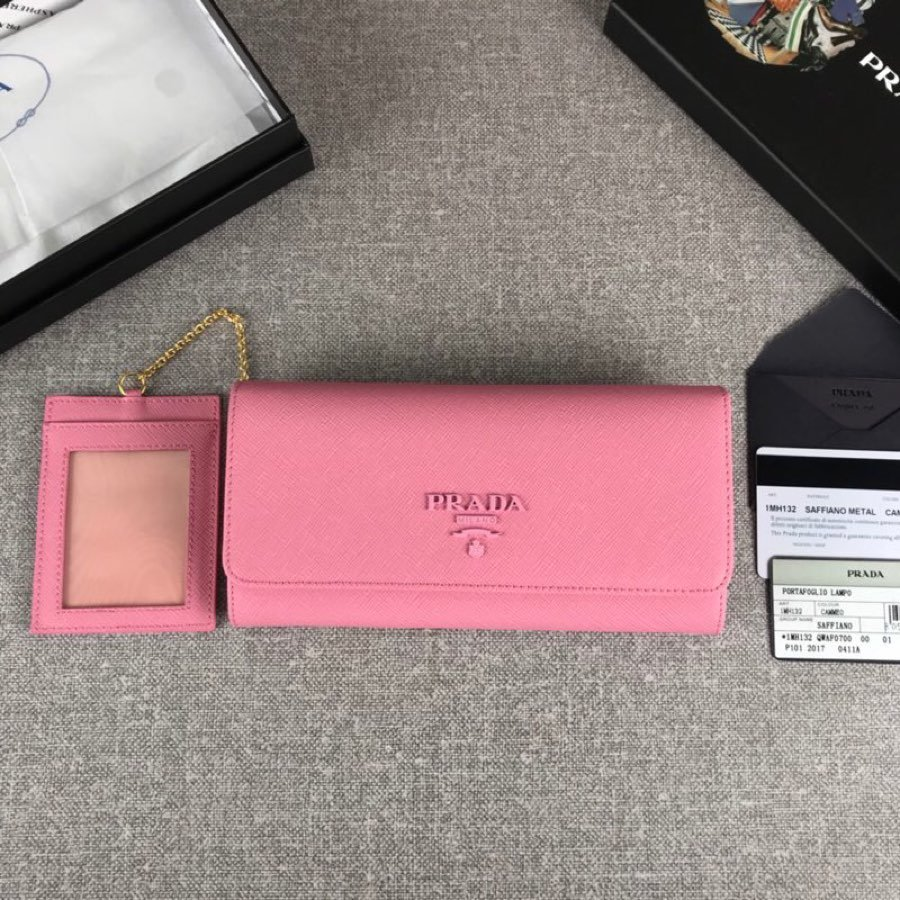Cheap Replica Prada 1MH132 Women Leather Wallet Pink