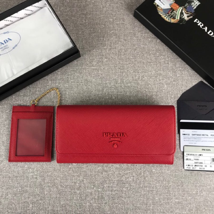Cheap Replica Prada 1MH132 Women Leather Wallet Red