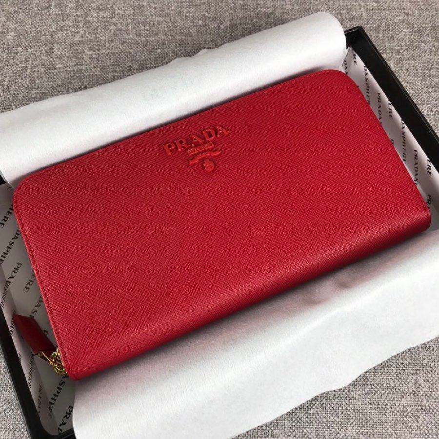 Cheap Replica Prada 1ML506 Leather Wallet red