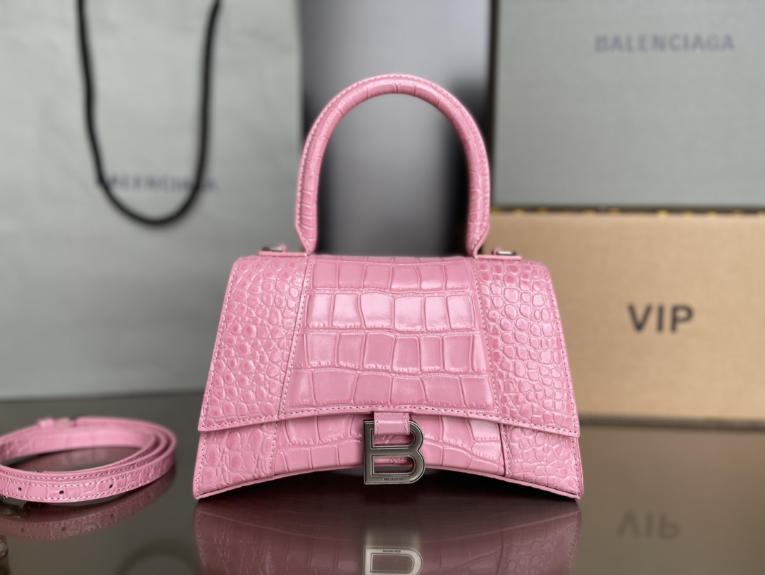 Copy Balenciaga Hourglass S Top Handle Bag in Pink Shiny Crocodile Embossed Calfskin