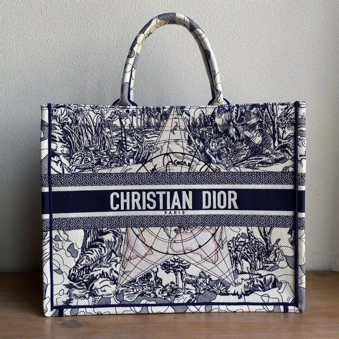 Copy Blue Multicolor Dior Around the World Embroidery GM