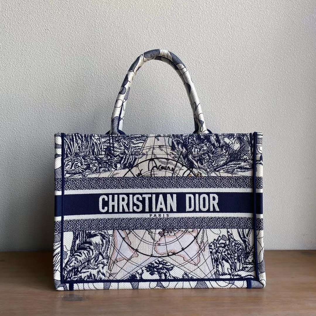 Copy Blue Multicolor Dior Around the World Embroidery PM