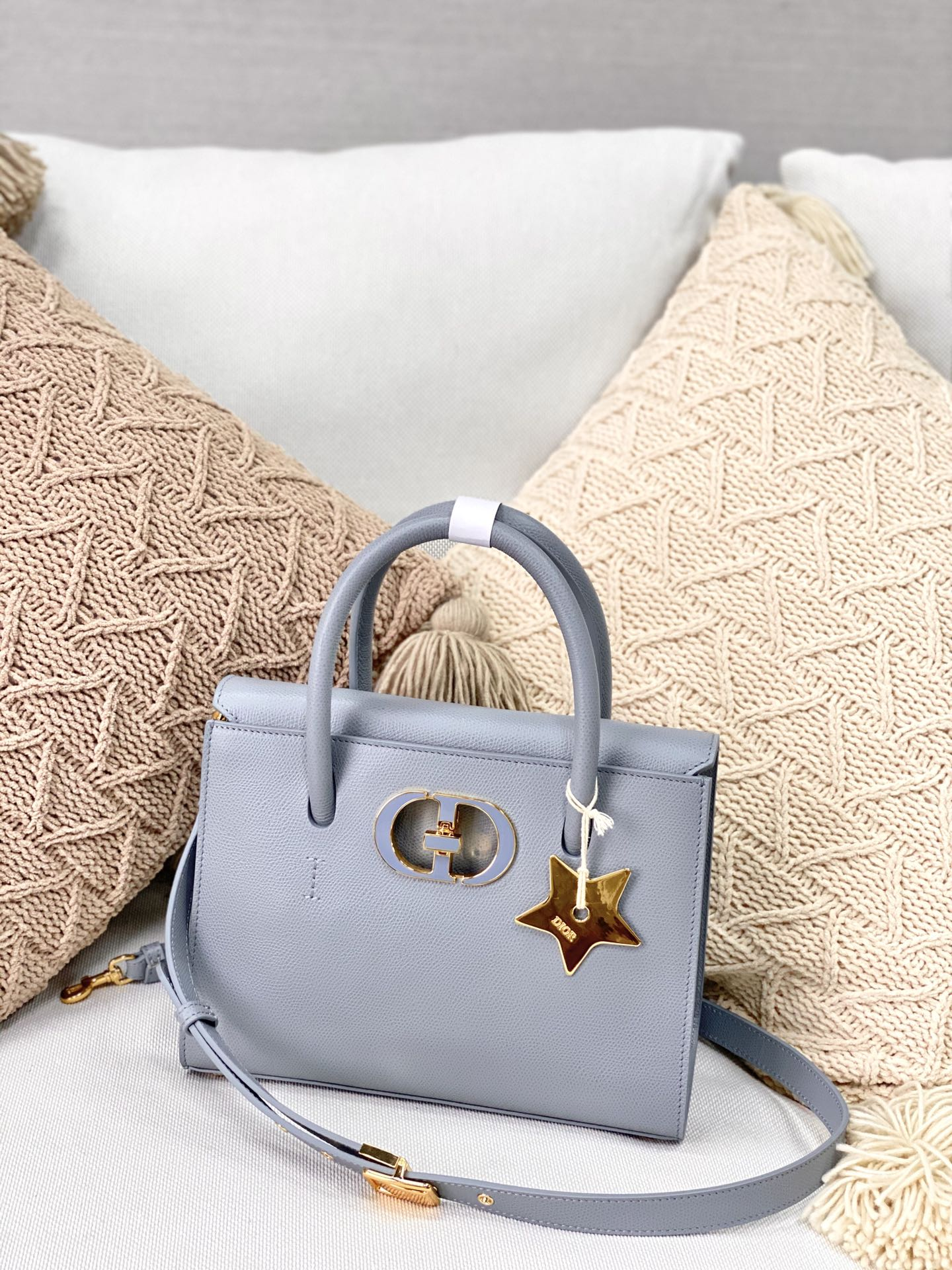 Copy Dior Medium St Honore Tote Grained Calfskin Cloud Blue