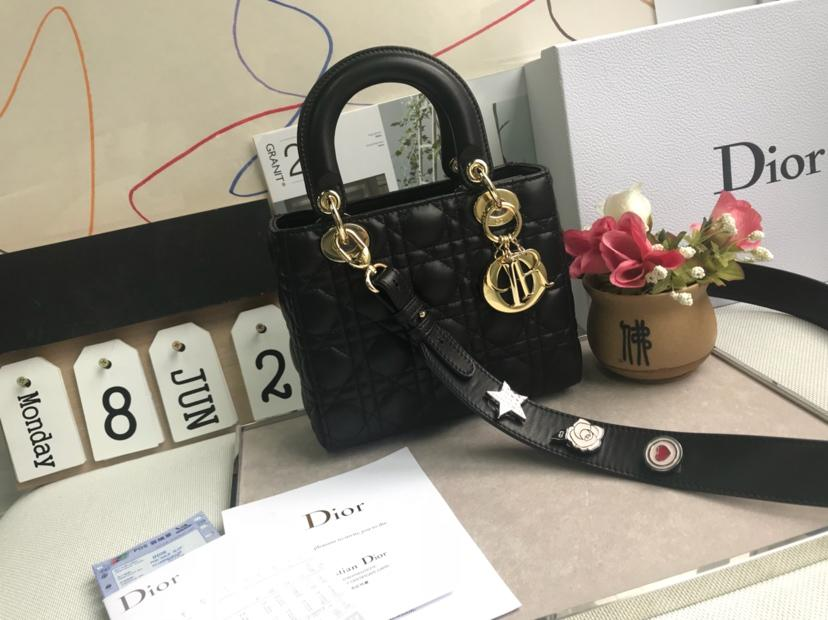 Copy Dior Personalise Your My Lady Dior Bag Black With Gold Tone