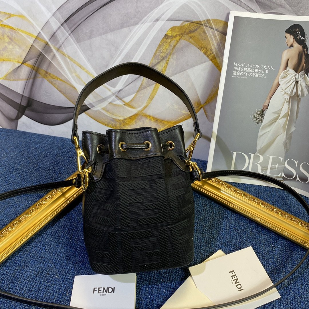 Copy Fendi Mon Tresor Bucket Bag in Black Canvas with Embroidered FF Motif