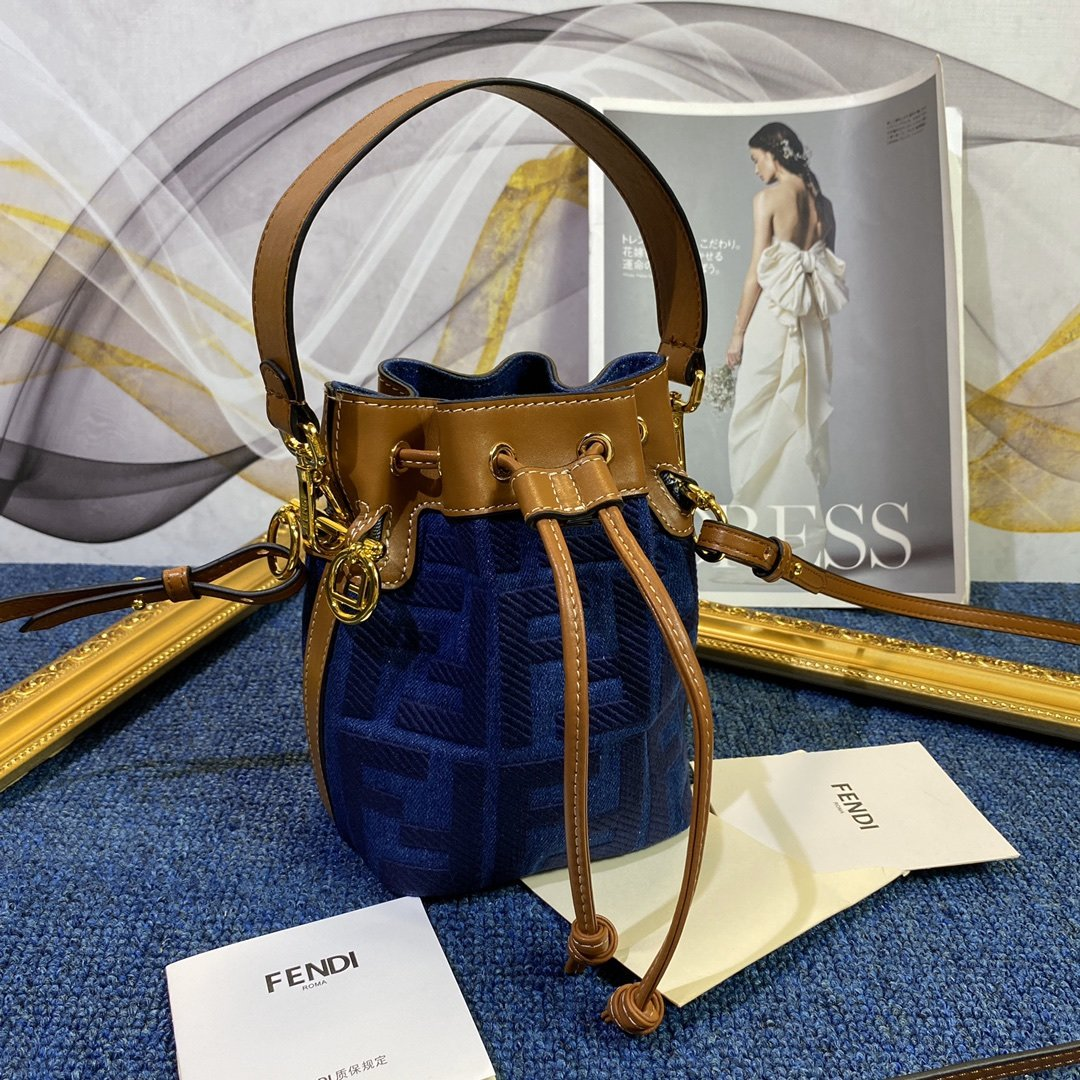 Copy Fendi Mon Tresor Bucket Bag in Blue Canvas with Embroidered FF Motif