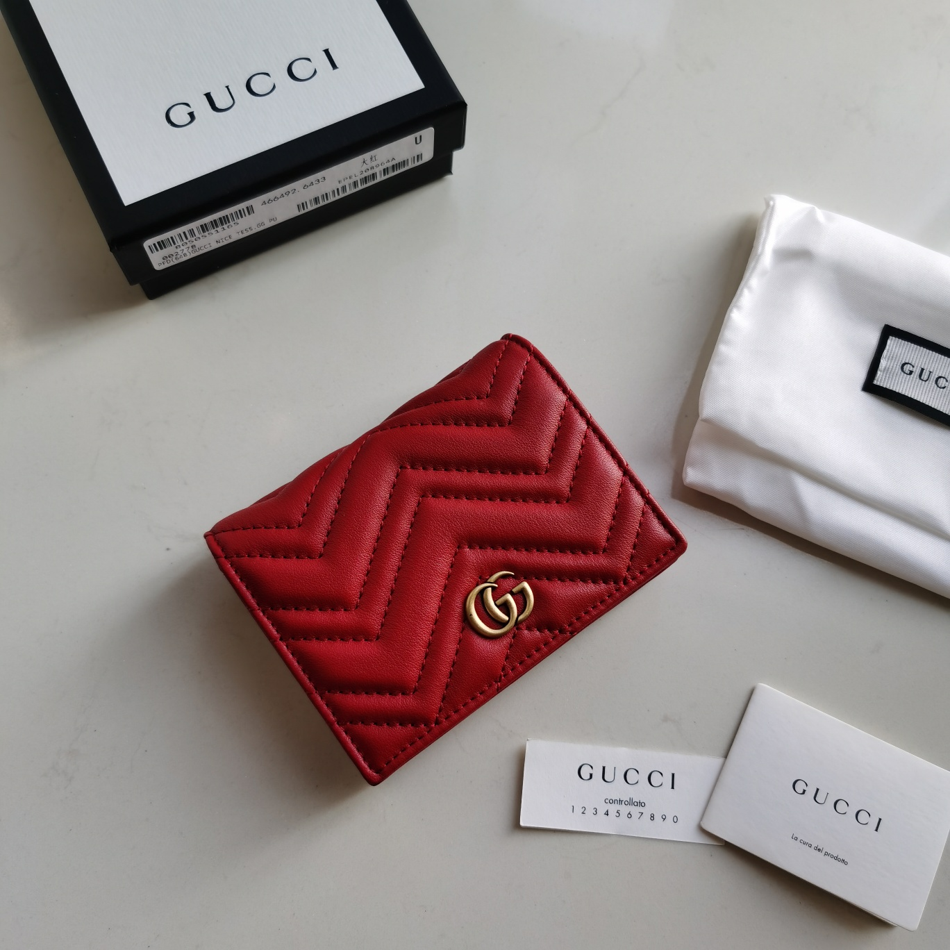 Copy Gucci 466492 Women GG Marmont Card Case Wallet Red Matelasse Chevron Leather