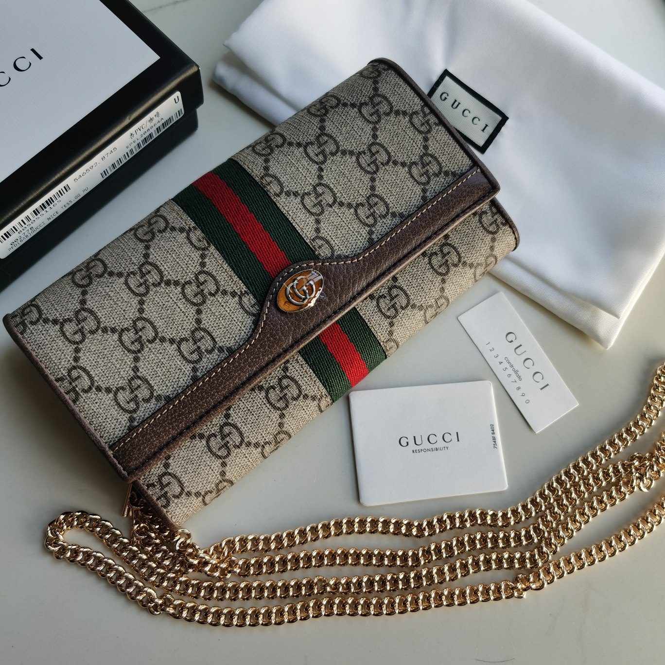 Copy Gucci 546592 Women Ophidia GG Chain Wallet Brown Textured Leather Trim
