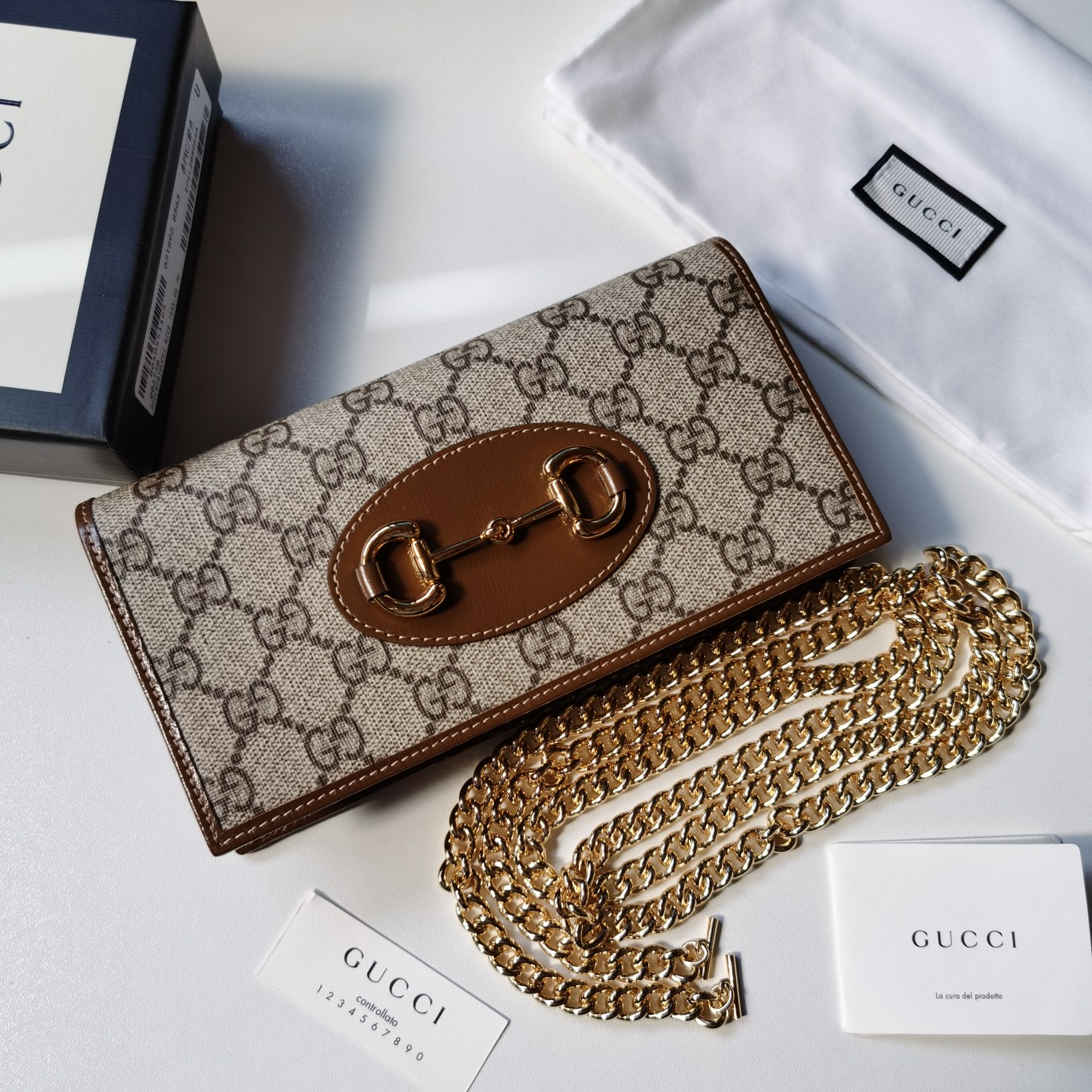 Copy Gucci 621892 Women Gucci Horsebit 1955 Wallet with Chain Brown Leather Details