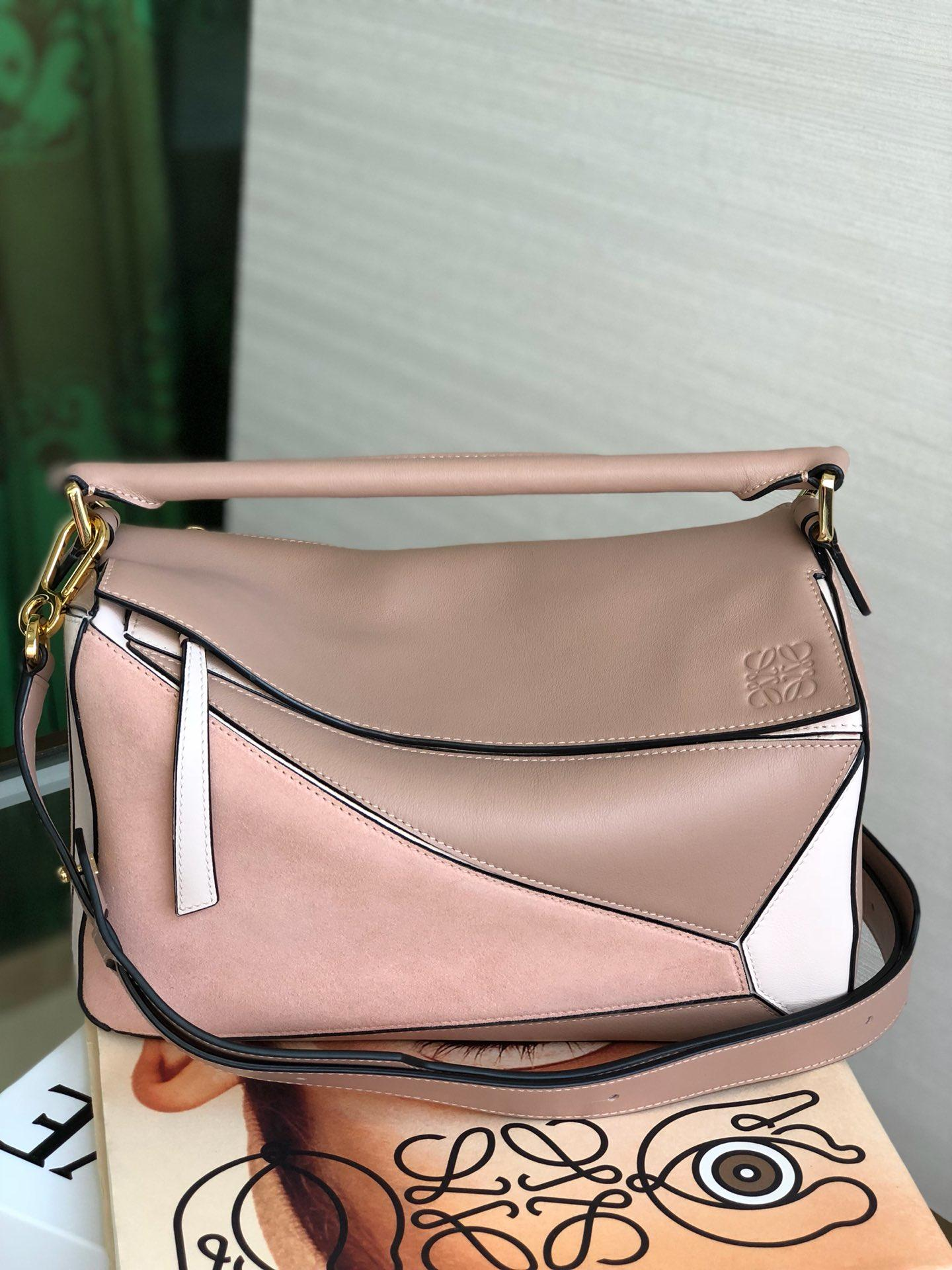 Copy Loewe Puzzle Bag 24cm and 29cm Sand Soft Grained Calf Blush Multitone