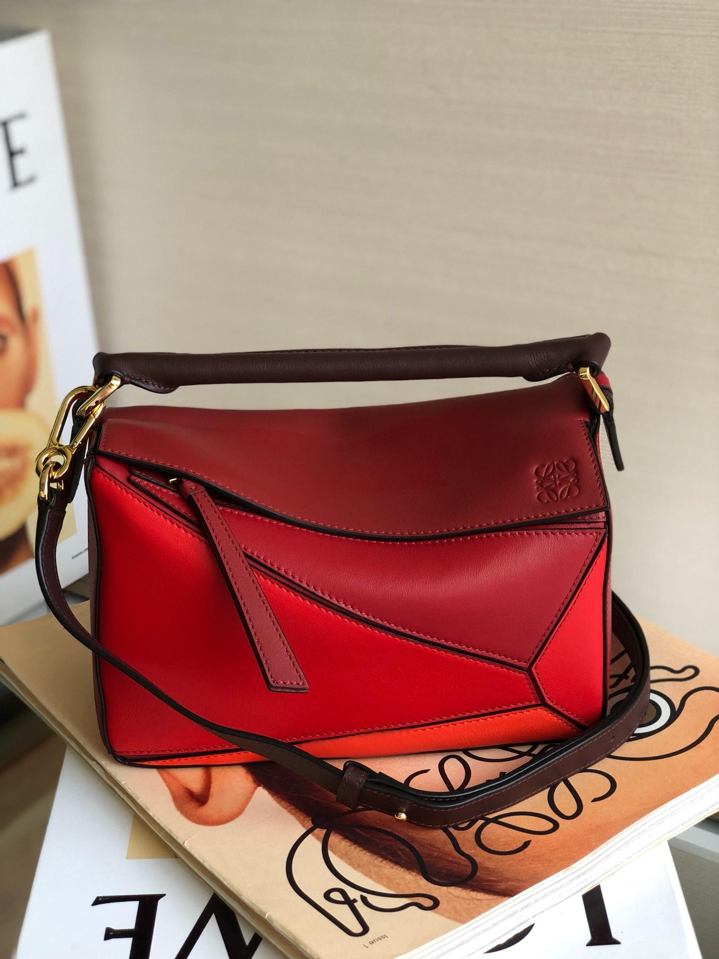Copy Loewe Puzzle Bag 24cm and 29cm Sand Soft Grained Calf Red Brown