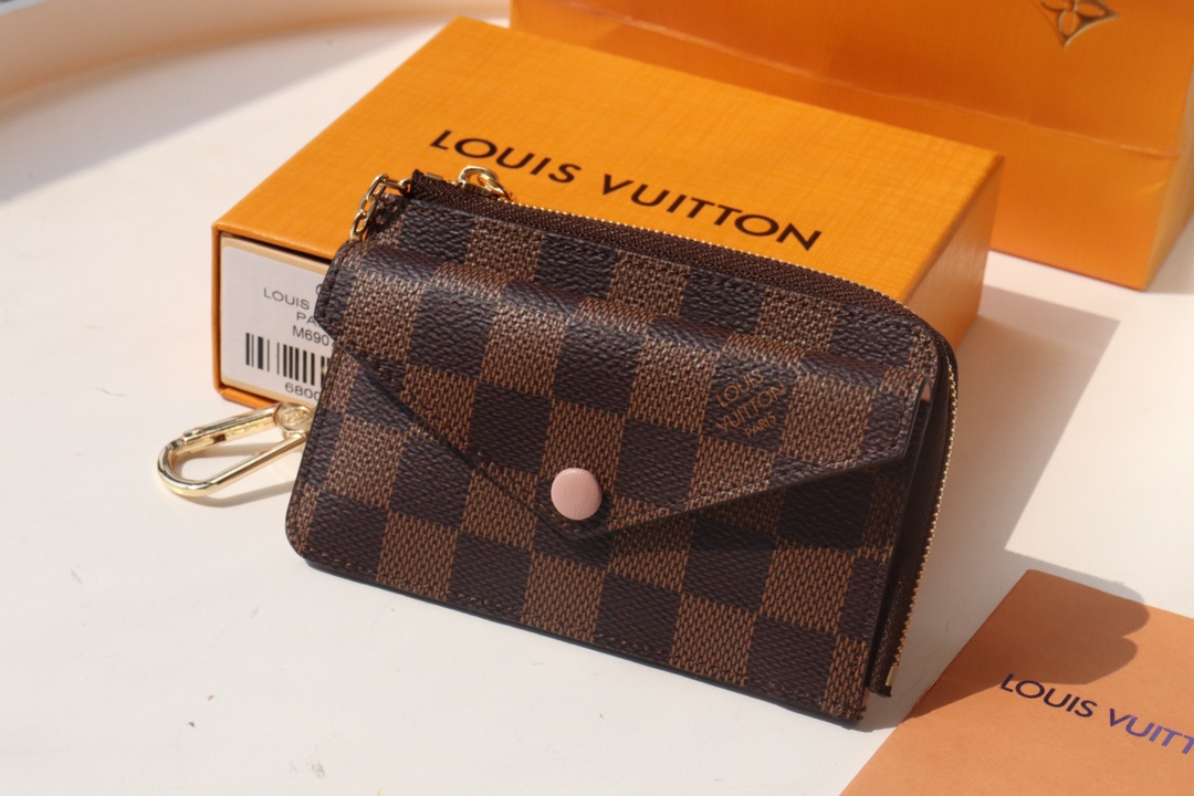 Copy Louis Vuittone N60406 Card Holder Recto Verso Damier Ebene Coated Canvas Pink