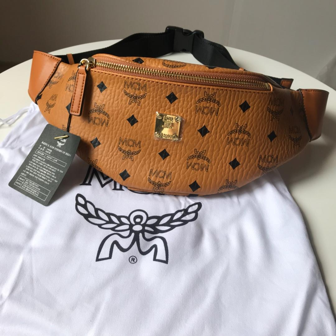 Copy MCM Stark Visetos Women Belt Bag Cognac