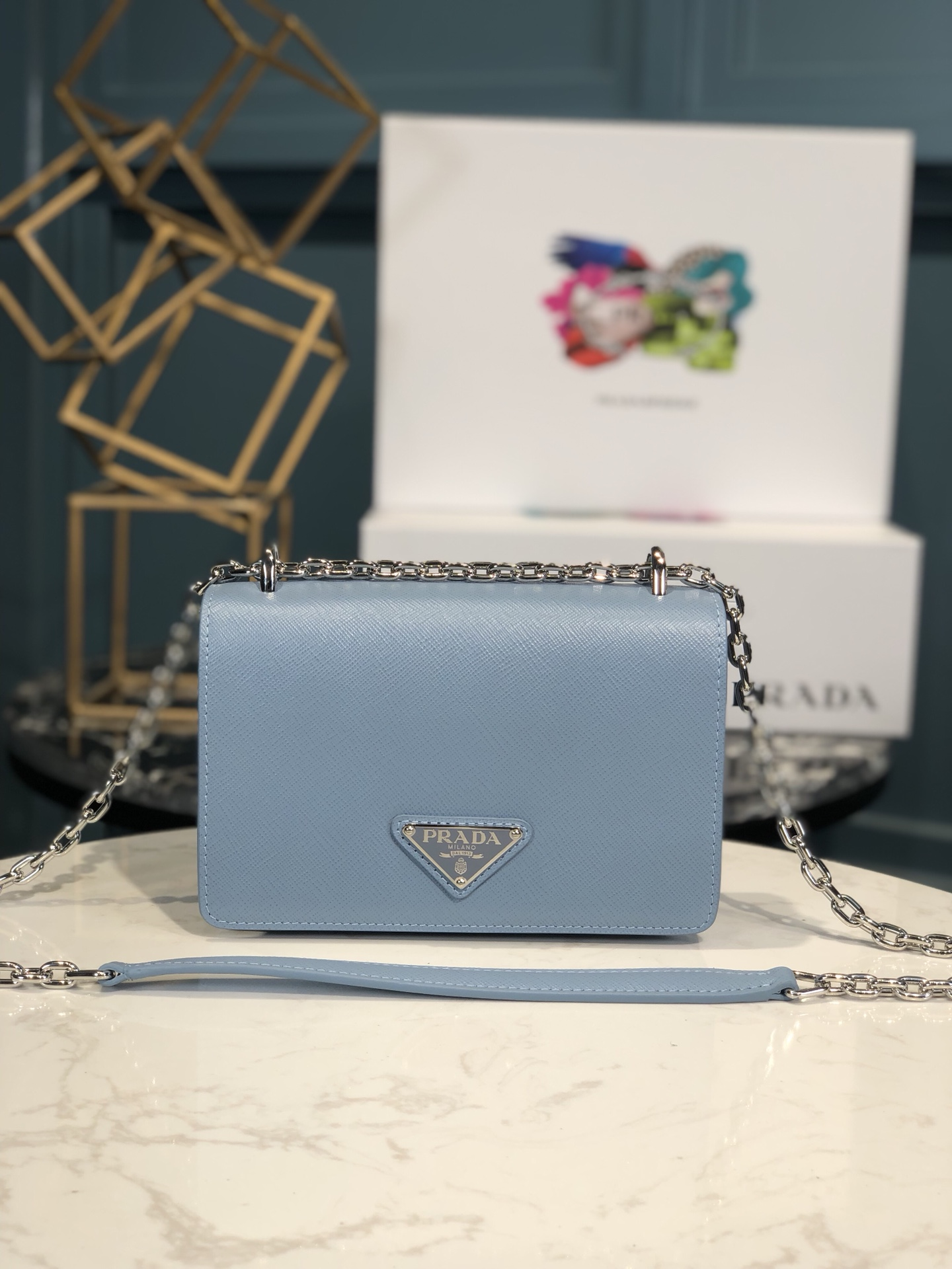 Copy Prada 1BD032 Nylon and Saffiano Leather Shoulder Bag Blue