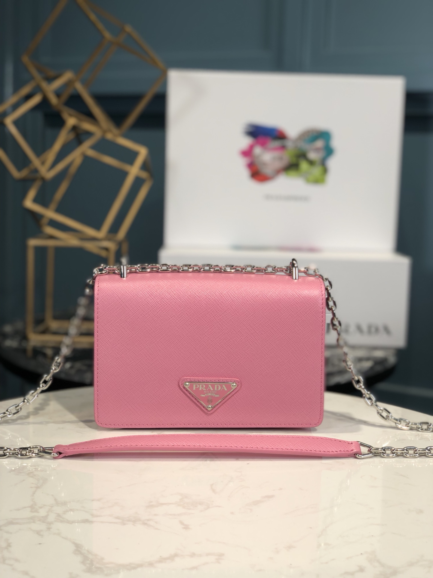 Copy Prada 1BD032 Nylon and Saffiano Leather Shoulder Bag Pink