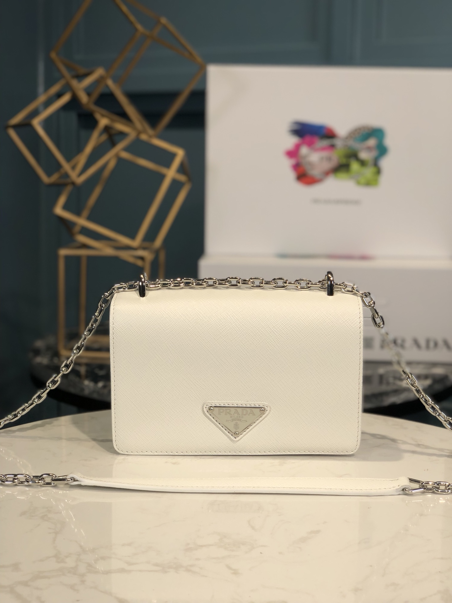 Copy Prada 1BD032 Nylon and Saffiano Leather Shoulder Bag White