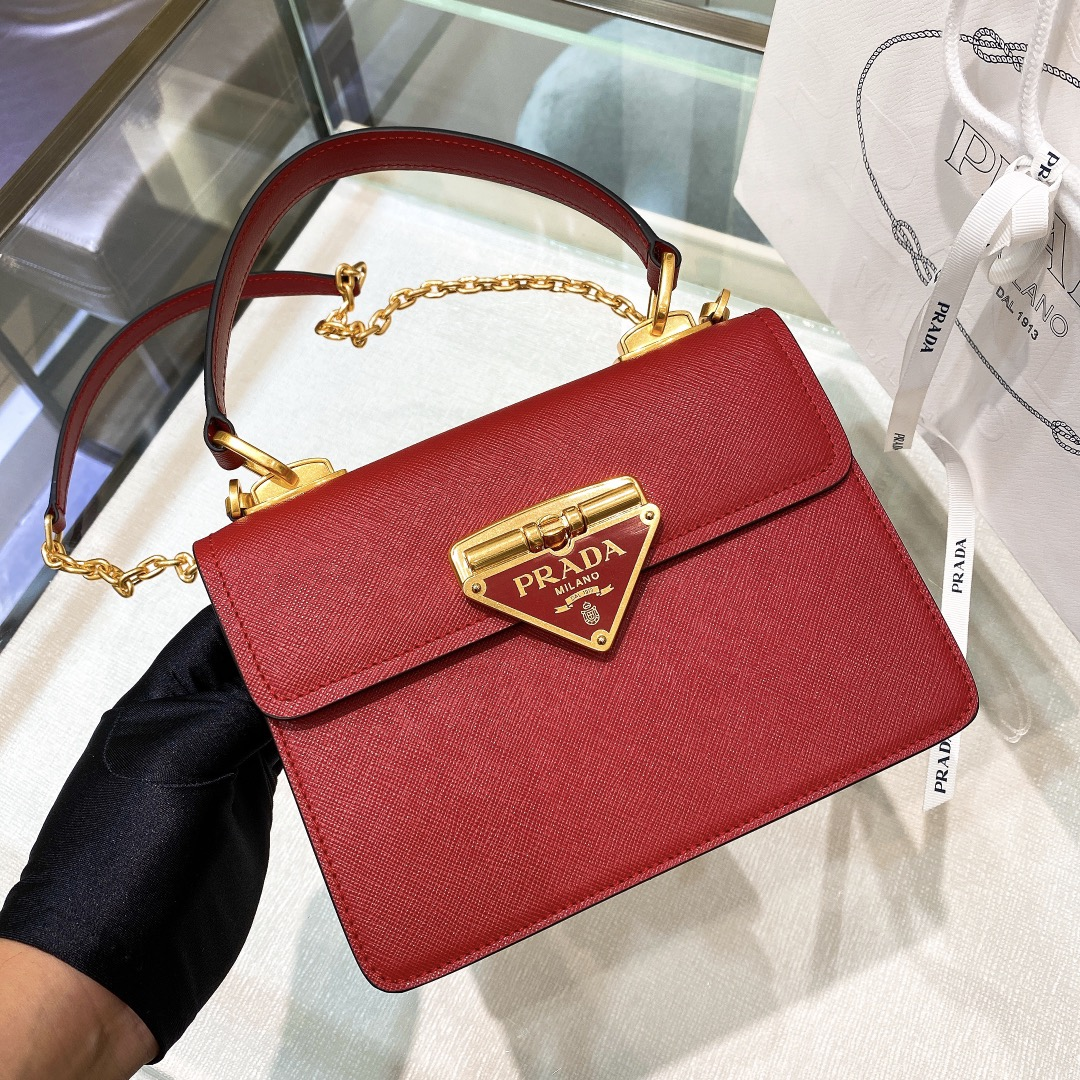 Copy Prada 1BD270 Saffiano Leather Prada Symbole Bag Red