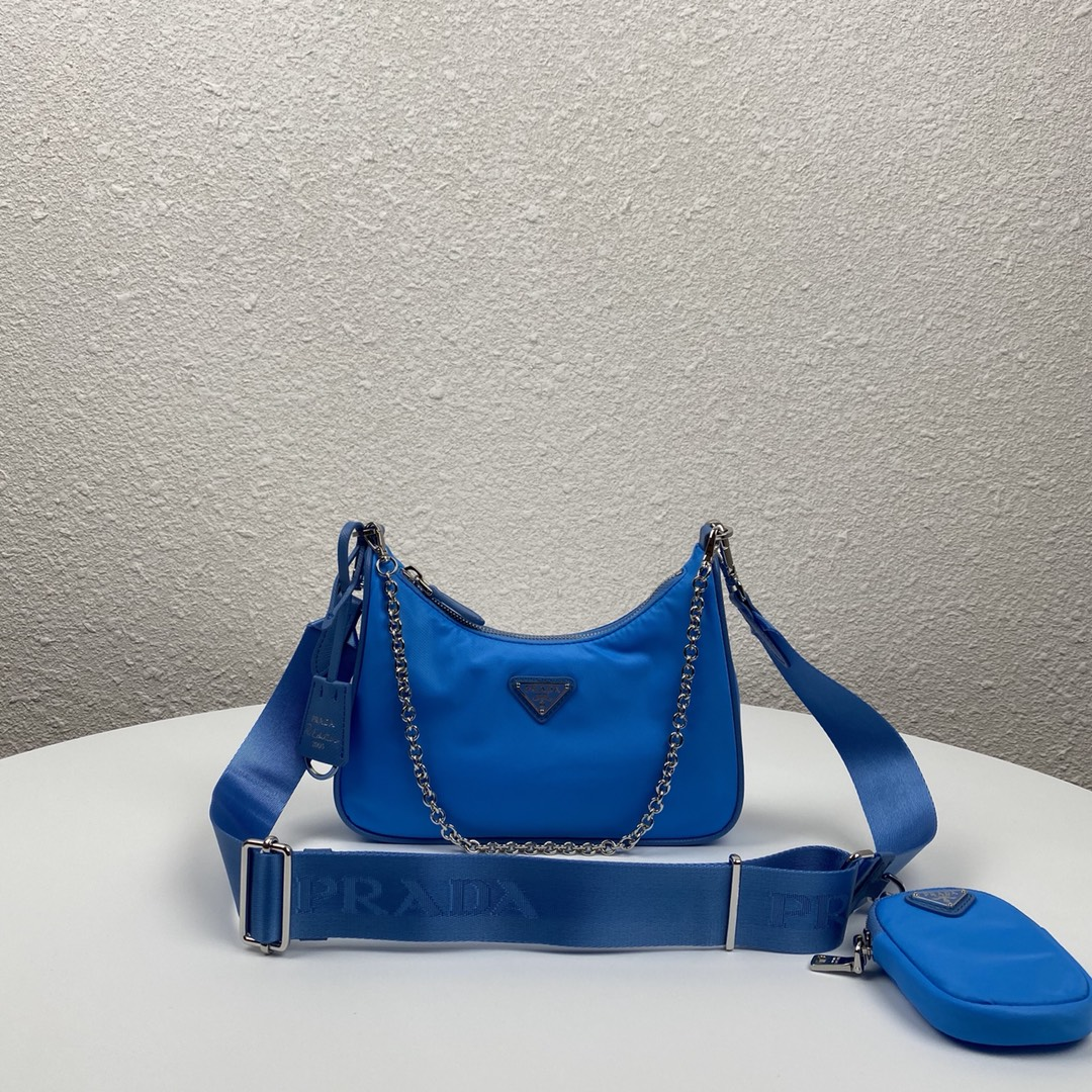Copy Prada 1BH204 Re-Edition 2005 Re-Nylon Bag Blue-1