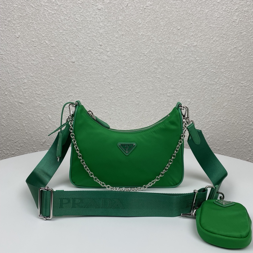 Copy Prada 1BH204 Re-Edition 2005 Re-Nylon Bag Green