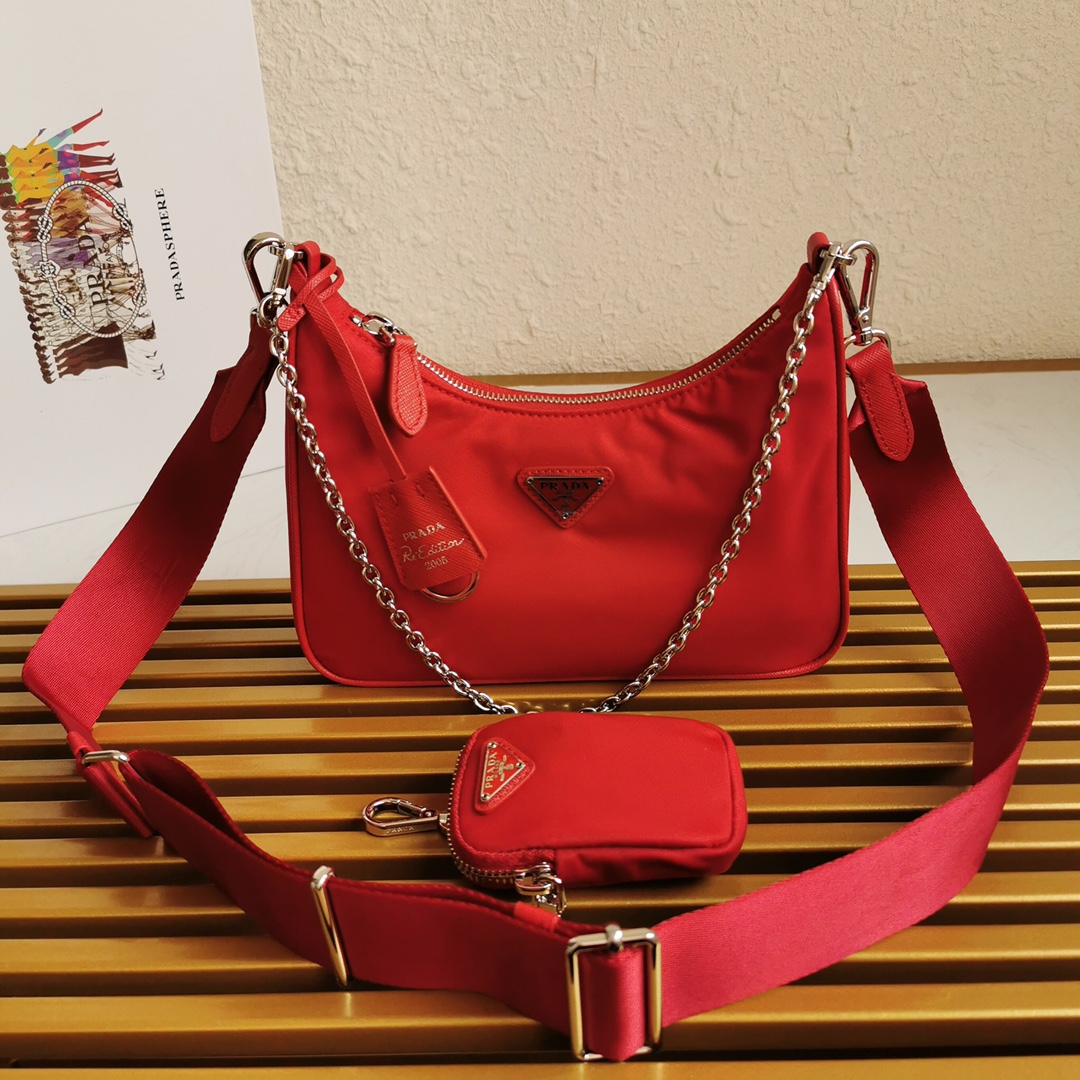 Copy Prada 1BH204 Re-Edition 2005 Re-Nylon Bag Red-1