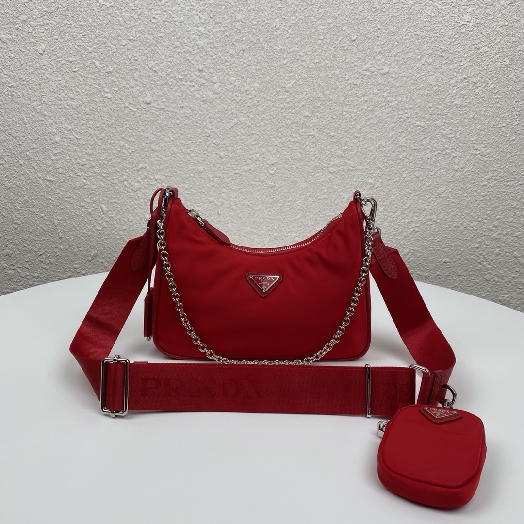 Copy Prada 1BH204 Re-Edition 2005 Re-Nylon Bag Red