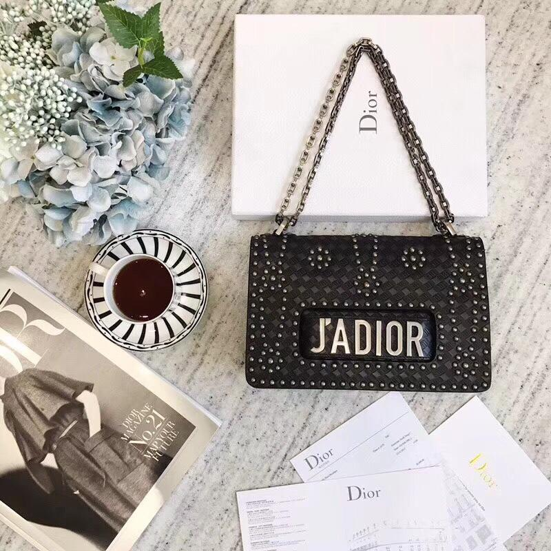 Dior J'adior Flap Bag in Black Studded Calfskin