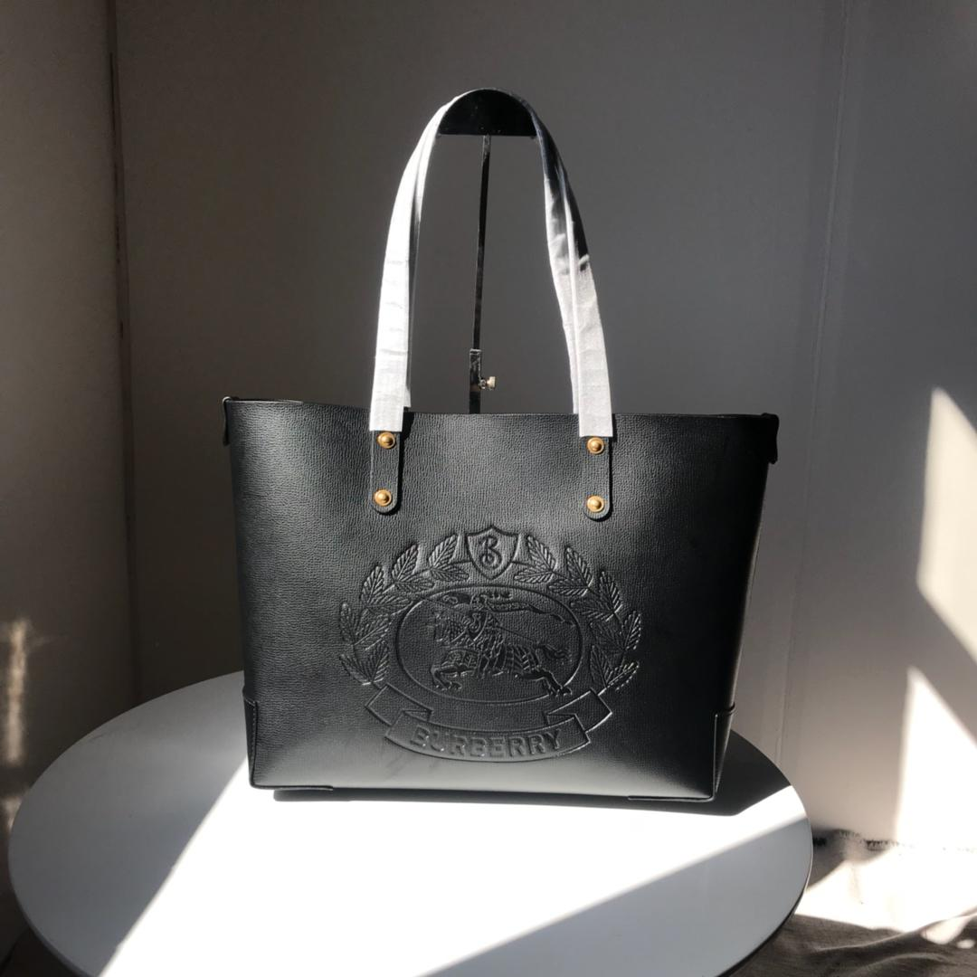 Fake Burberry 40801091 Small Embossed Crest Leather Women Tote Black