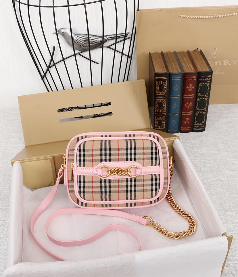Fake Burberry The 1983 Check Link Camera Bag Calf Leather Pink