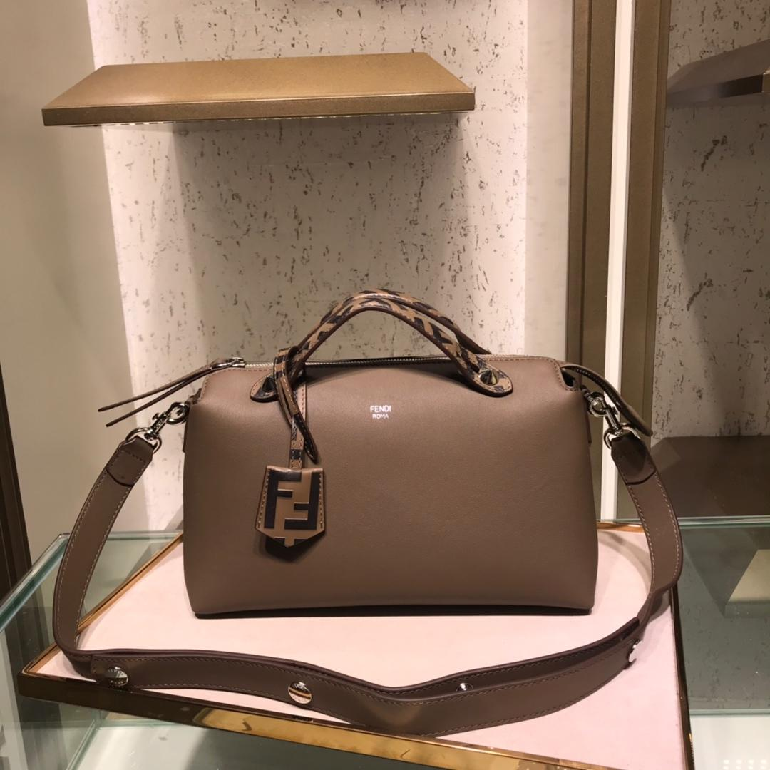 Fake Fendi By The Way Regular Exotic Gray Leather Boston Bag 28cm and 20cm