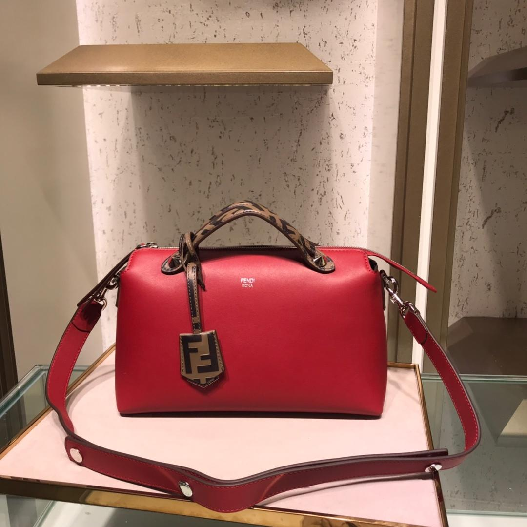 Fake Fendi By The Way Regular Exotic Red Leather Boston Bag 28cm and 20cm