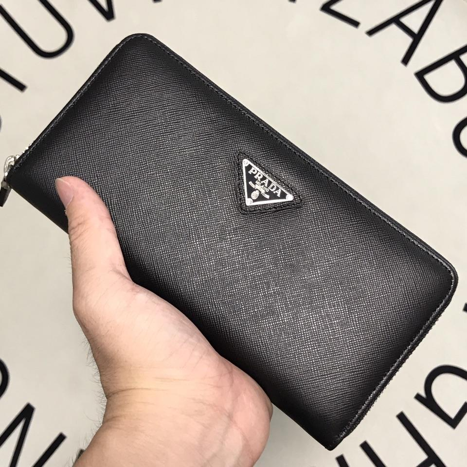 Fake Prada ML317 Men Saffiano Leather Wallet Black
