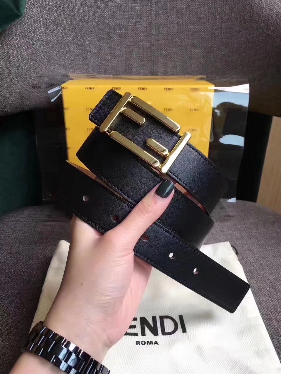Fendi Baguette Women Belt Black