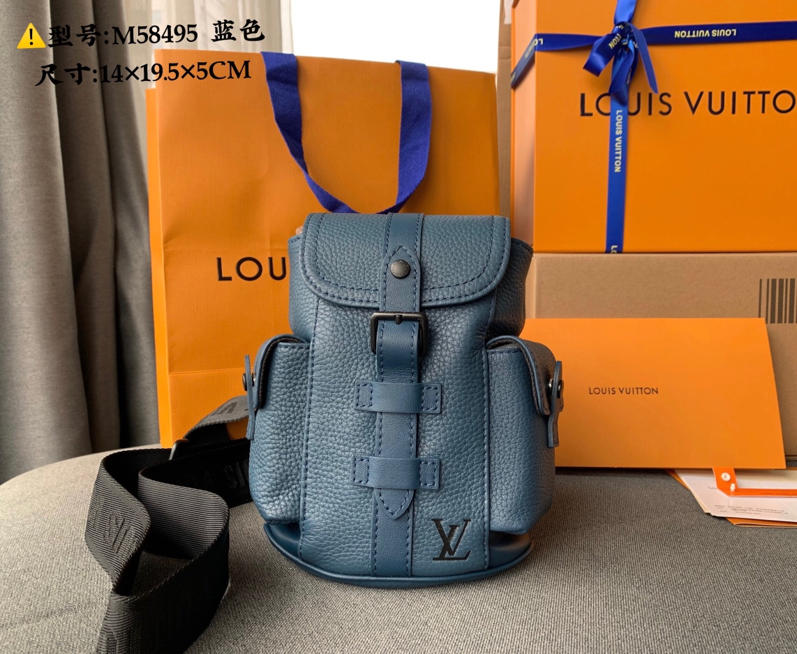 Good Reviews Louis Vuittion M58493 CHRISTOPHER XS Backpack Navy Blue Taurillon Leather
