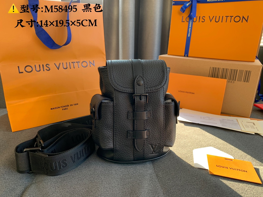 Good Reviews Louis Vuittion M58495 CHRISTOPHER XS Backpack Black Taurillon Leather