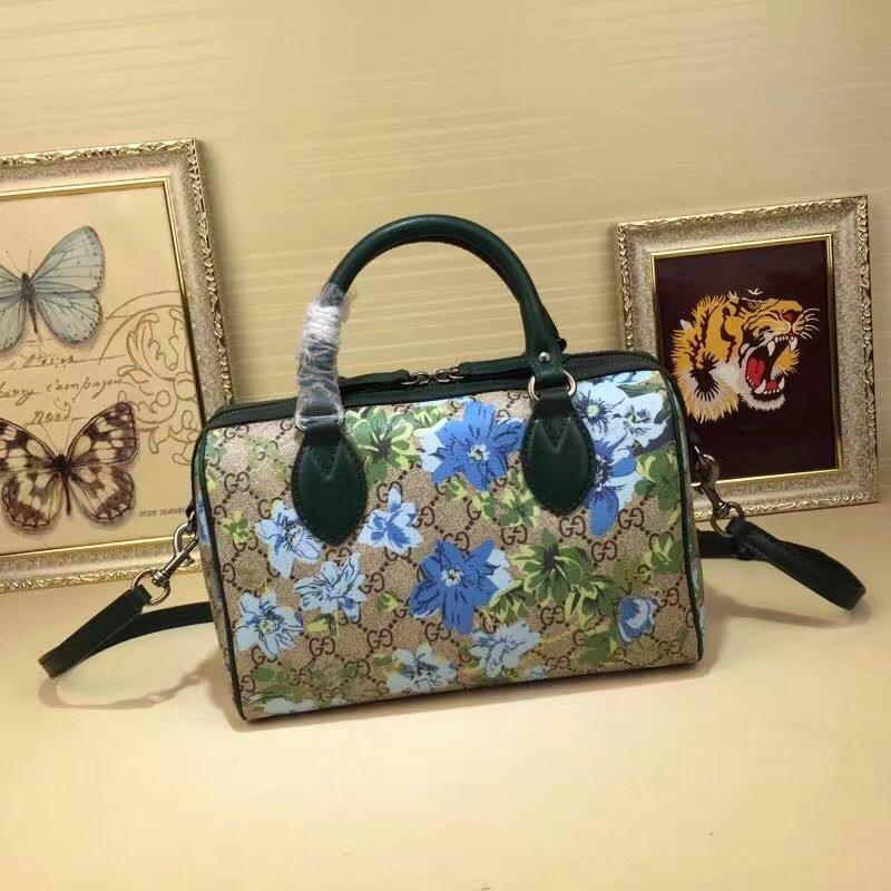 Gucci 409529 Blooms Print Small GG Top Handle Bag Blue
