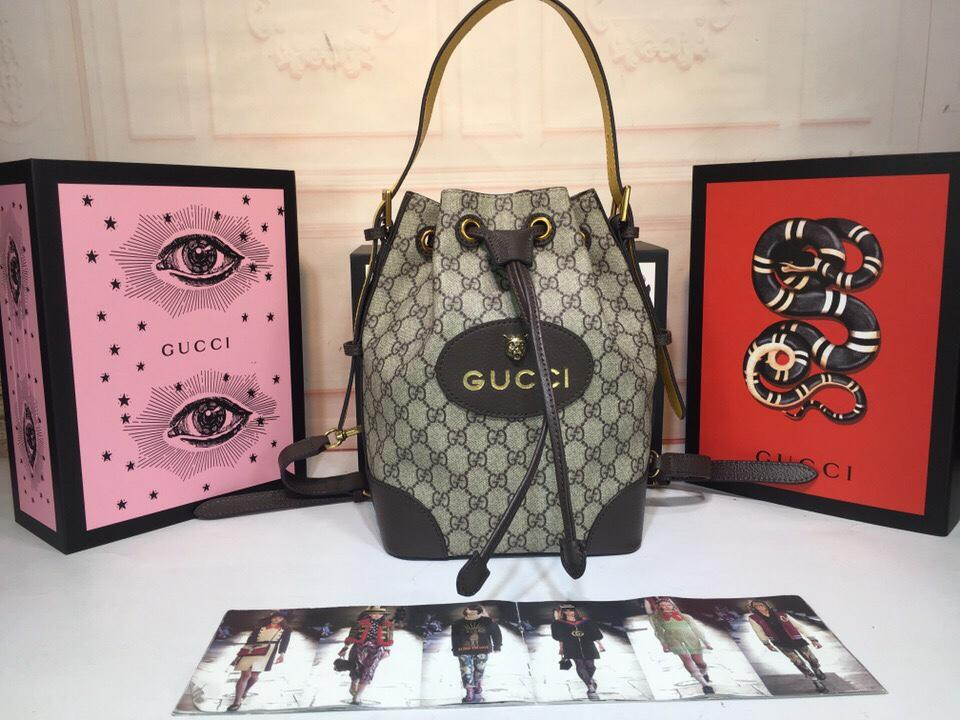 Gucci 473875 GG Supreme Women Bucket Backpack
