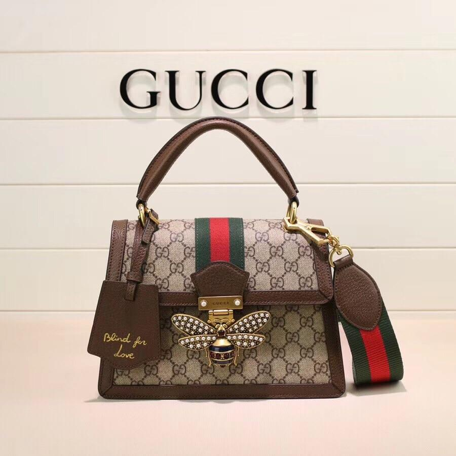 Gucci 476541 Queen Margaret GG Small Top Handle Bag Brown