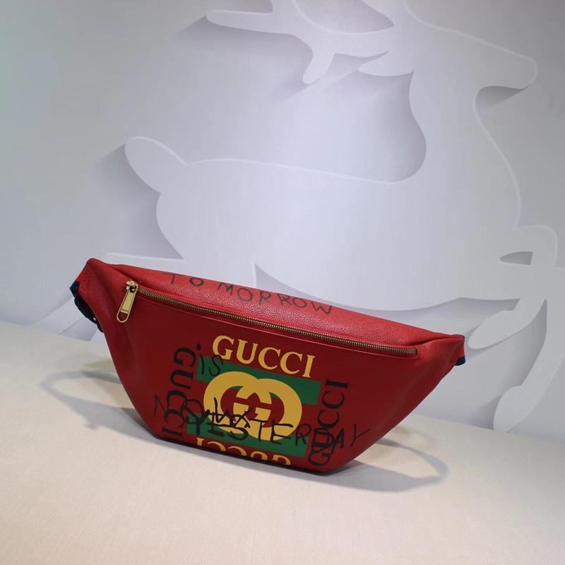 Gucci 493869 Women Print Leather Belt Bag Red