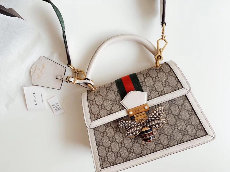 Gucci Queen Margaret GG Small Top Handle Bag White Leather 476541